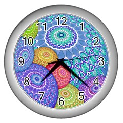 India Ornaments Mandala Balls Multicolored Wall Clocks (silver)