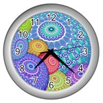 India Ornaments Mandala Balls Multicolored Wall Clocks (Silver)  Front
