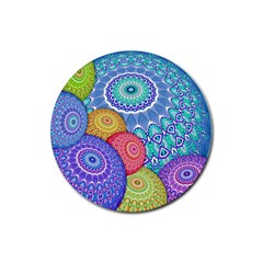 India Ornaments Mandala Balls Multicolored Rubber Round Coaster (4 Pack)  by EDDArt