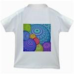 India Ornaments Mandala Balls Multicolored Kids White T-Shirts Back