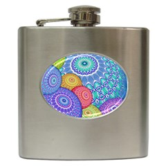India Ornaments Mandala Balls Multicolored Hip Flask (6 Oz) by EDDArt