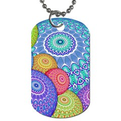 India Ornaments Mandala Balls Multicolored Dog Tag (two Sides) by EDDArt