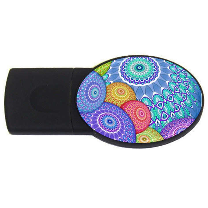 India Ornaments Mandala Balls Multicolored USB Flash Drive Oval (2 GB)
