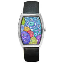 India Ornaments Mandala Balls Multicolored Barrel Style Metal Watch by EDDArt