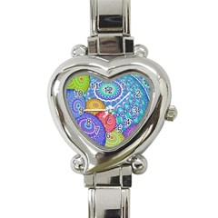 India Ornaments Mandala Balls Multicolored Heart Italian Charm Watch by EDDArt
