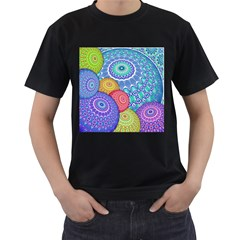 India Ornaments Mandala Balls Multicolored Men s T Shirt (black) (two Sided) by EDDArt
