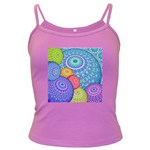 India Ornaments Mandala Balls Multicolored Dark Spaghetti Tank Front