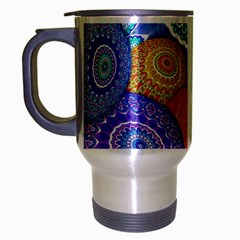 India Ornaments Mandala Balls Multicolored Travel Mug (silver Gray) by EDDArt