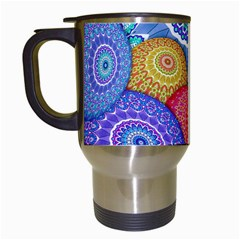 India Ornaments Mandala Balls Multicolored Travel Mugs (white)