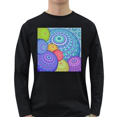 India Ornaments Mandala Balls Multicolored Long Sleeve Dark T Shirts by EDDArt