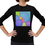 India Ornaments Mandala Balls Multicolored Women s Long Sleeve Dark T-Shirts Front