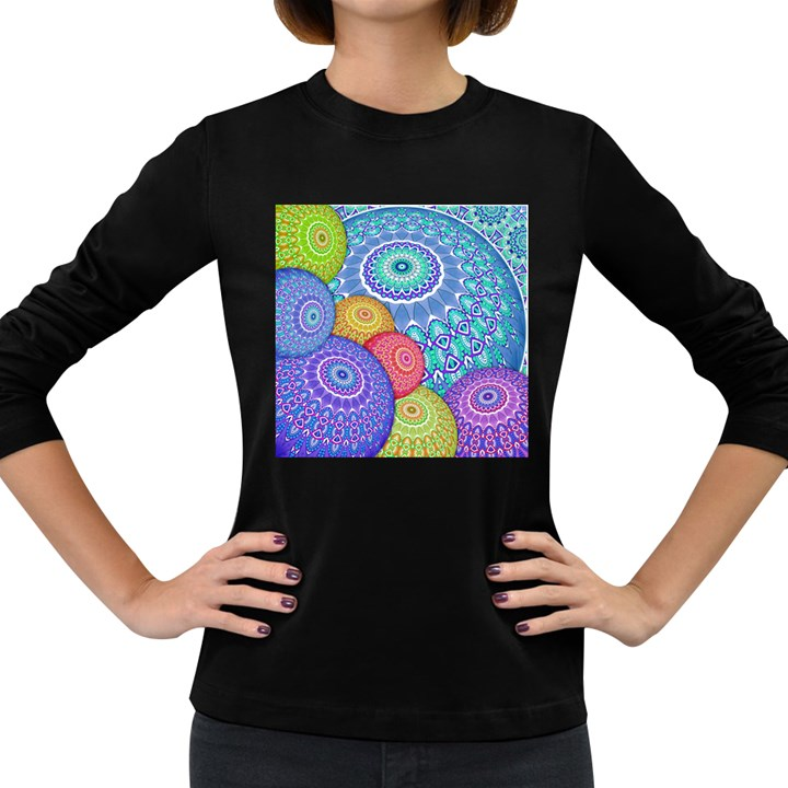 India Ornaments Mandala Balls Multicolored Women s Long Sleeve Dark T-Shirts