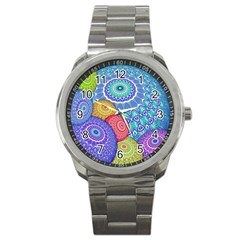India Ornaments Mandala Balls Multicolored Sport Metal Watch by EDDArt