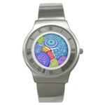 India Ornaments Mandala Balls Multicolored Stainless Steel Watch Front