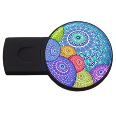 India Ornaments Mandala Balls Multicolored Usb Flash Drive Round (4 Gb)  by EDDArt