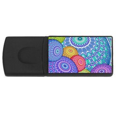 India Ornaments Mandala Balls Multicolored Usb Flash Drive Rectangular (4 Gb)  by EDDArt