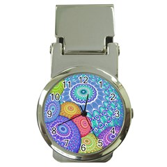 India Ornaments Mandala Balls Multicolored Money Clip Watches by EDDArt