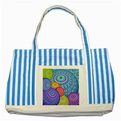 India Ornaments Mandala Balls Multicolored Striped Blue Tote Bag by EDDArt
