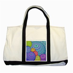 India Ornaments Mandala Balls Multicolored Two Tone Tote Bag