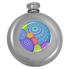 India Ornaments Mandala Balls Multicolored Round Hip Flask (5 Oz) by EDDArt