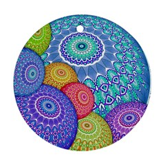 India Ornaments Mandala Balls Multicolored Round Ornament (two Sides)  by EDDArt