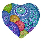 India Ornaments Mandala Balls Multicolored Heart Ornament (2 Sides) Front