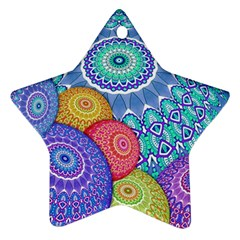 India Ornaments Mandala Balls Multicolored Star Ornament (two Sides)  by EDDArt