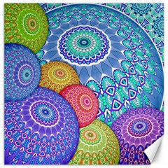 India Ornaments Mandala Balls Multicolored Canvas 12  X 12   by EDDArt