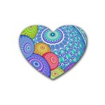 India Ornaments Mandala Balls Multicolored Rubber Coaster (Heart)  Front