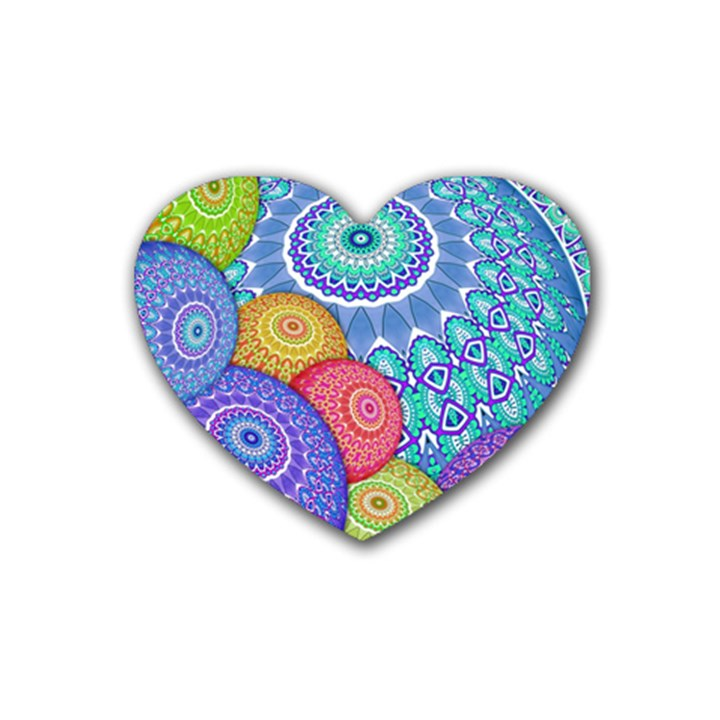 India Ornaments Mandala Balls Multicolored Rubber Coaster (Heart)