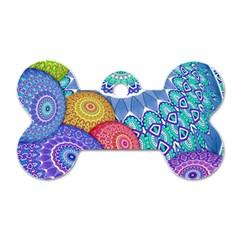 India Ornaments Mandala Balls Multicolored Dog Tag Bone (Two Sides)