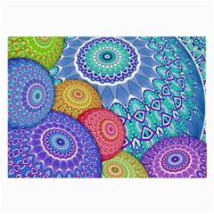 India Ornaments Mandala Balls Multicolored Large Glasses Cloth (2 Side) by EDDArt