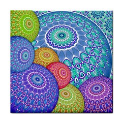 India Ornaments Mandala Balls Multicolored Face Towel by EDDArt