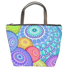 India Ornaments Mandala Balls Multicolored Bucket Bags by EDDArt