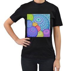 India Ornaments Mandala Balls Multicolored Women s T Shirt (black)