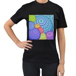 India Ornaments Mandala Balls Multicolored Women s T-Shirt (Black) Front
