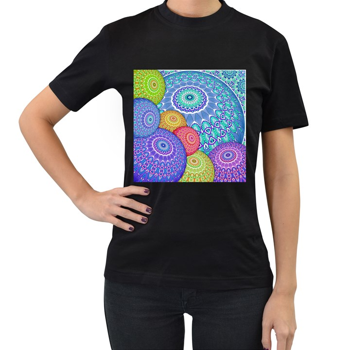 India Ornaments Mandala Balls Multicolored Women s T-Shirt (Black)