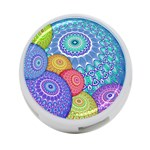 India Ornaments Mandala Balls Multicolored 4-Port USB Hub (One Side) Front