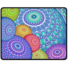 India Ornaments Mandala Balls Multicolored Fleece Blanket (medium)  by EDDArt