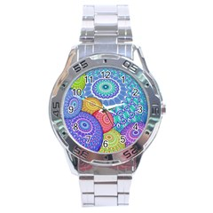 India Ornaments Mandala Balls Multicolored Stainless Steel Analogue Watch by EDDArt
