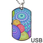 India Ornaments Mandala Balls Multicolored Dog Tag USB Flash (One Side) Front