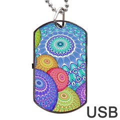 India Ornaments Mandala Balls Multicolored Dog Tag Usb Flash (two Sides)  by EDDArt