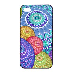 India Ornaments Mandala Balls Multicolored Apple Iphone 4/4s Seamless Case (black) by EDDArt