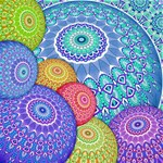 India Ornaments Mandala Balls Multicolored Happy Birthday 3D Greeting Card (8x4) Inside
