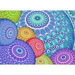 India Ornaments Mandala Balls Multicolored Peace Sign 3D Greeting Card (7x5) Back