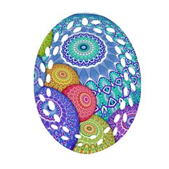 India Ornaments Mandala Balls Multicolored Ornament (oval Filigree)  by EDDArt