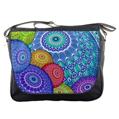 India Ornaments Mandala Balls Multicolored Messenger Bags by EDDArt