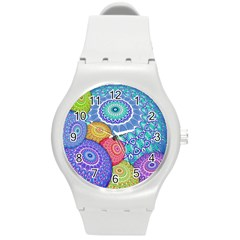 India Ornaments Mandala Balls Multicolored Round Plastic Sport Watch (m) by EDDArt
