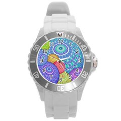 India Ornaments Mandala Balls Multicolored Round Plastic Sport Watch (l) by EDDArt