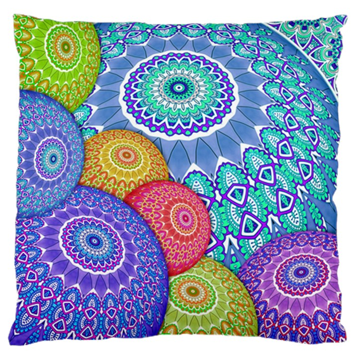 India Ornaments Mandala Balls Multicolored Large Cushion Case (One Side)